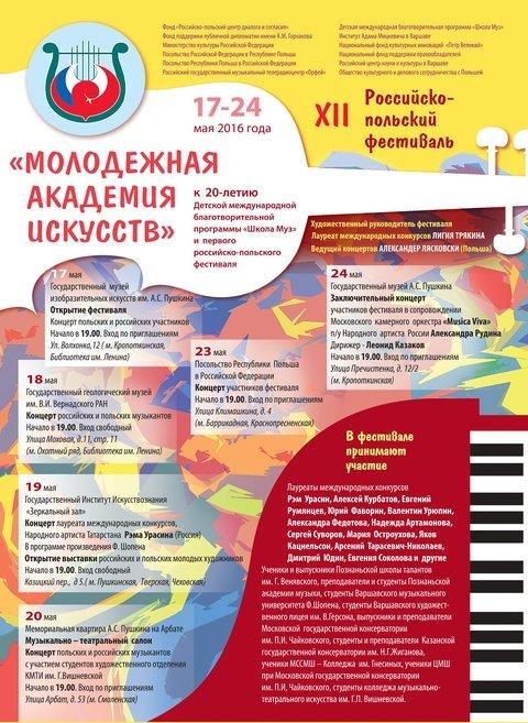 XII российско-польский фестиваль  «Молодёжная  Академия  Искусств»