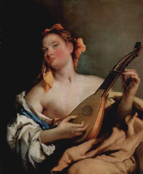 Джованни Батиста Тьеполо. «Женщина с мандолиной». Около 1758-1760. 93 x 74 см. Холст, масло. Детройт (штат Мичиган). Институт изящных искусств.